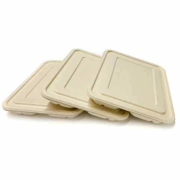 Disposable Green - 5 Compartment Plate with Lids