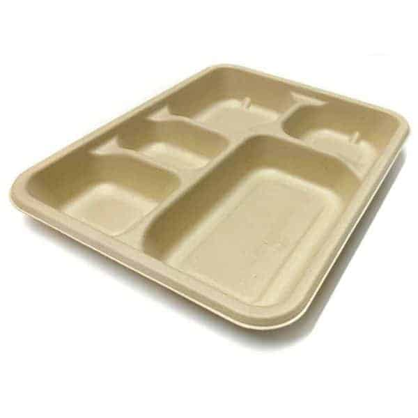 Disposable Green - 5 Compartment Plate